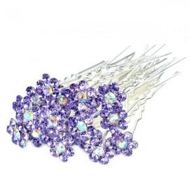 Květinové pinetky s kamínky - fialové